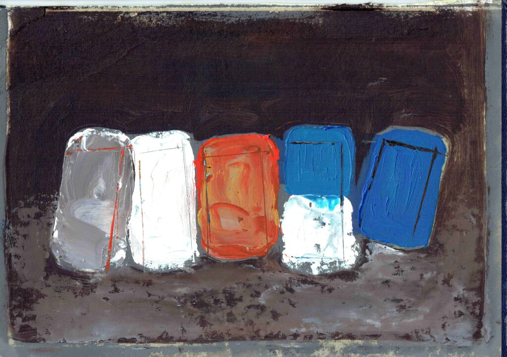 Fish Boxes oil on diary cover board unframed