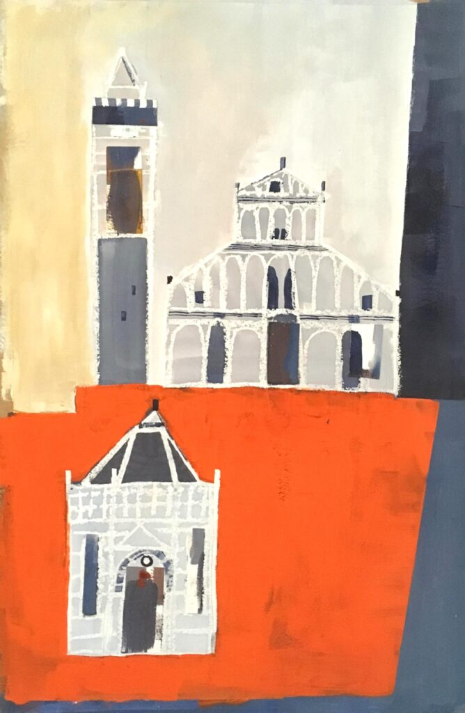 Lynda Wilson Piazza del Duomo Pistoia gouache and collage on paper framed £350