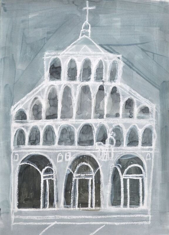 San Martino Lucca wash and resist on paper