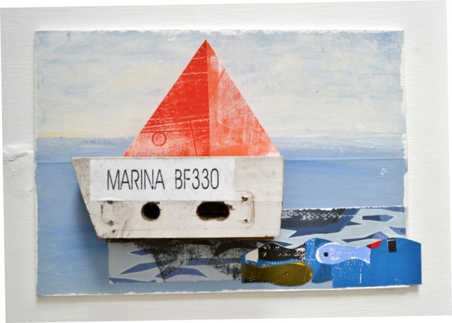 Marina BF330 found objects and collage on board framed