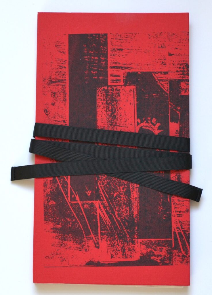 Yangtse River 28 pages concertina charcoal on chinese paper with printed cloth boards and ribbon