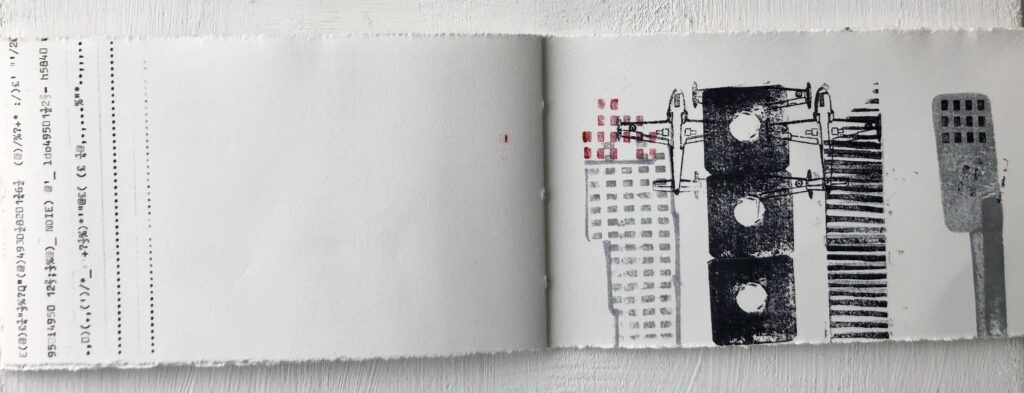 High Rise artist book, rubber stamping, monoprint and typing 10cm high x 18cm long closed £30