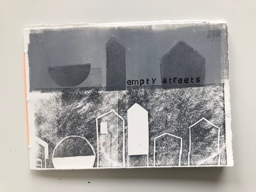 Empty Streets. Artist book, Lino print and rubber stamping on Somerset Satin white paper. Six pages plus front and back cover. £40
